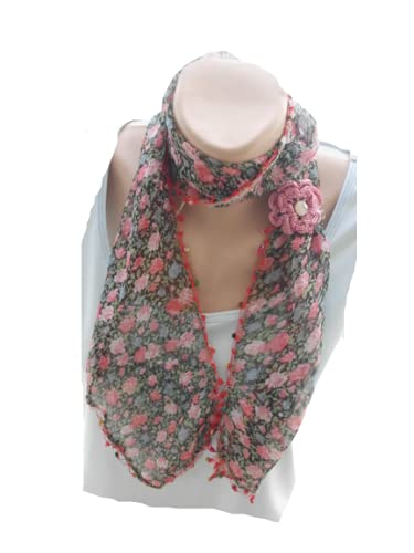 Beaded Scarf Selling Women Cotton Floral Houston Mall Boho Lace
