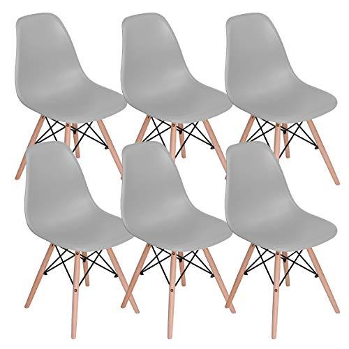 Lot de 6 chaises de salle à manger Mübbles Moderne du milieu du siècle Chaise de cuisine en plastique avec pieds en bois pour salle à manger, chambre à coucher, salon gris