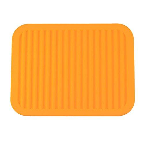 22,9 x 30,5 cm en Silicone Tapis d'évier, Support de Pot de Fleurs, à Isolation Thermique Pad, Tapis de Dessous de Plat, antimicrobien, antidérapant, Vaisselle Pad, Orange, 9\