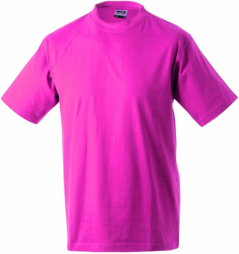 JAMES & NICHOLSON T- Shirt Round Heavy, Rose (Pink), (Taille Fabricant: Small) Homme