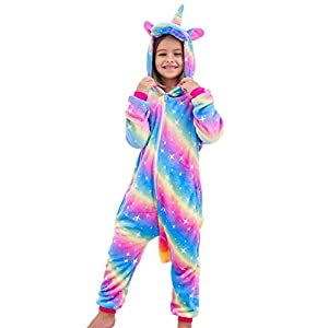 DRESHOW Unicornio Pijamas de un Pieza para Niños Niñas, Unicornio Pijama Ropa de Dormir Invierno de Cosplay Pyjamas…