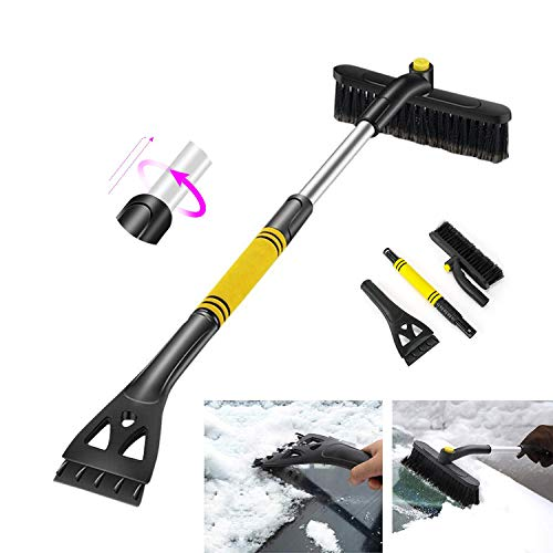 Learn More About Car Snow Brush 360° Extendable Snow Remover with Ice Scraper & Foam Grip Detachabl...