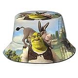 Sombrero de Pescador Shrek de Anime, protección UV de Verano, Sombreros de Cubo de Viaje, Gorra de Sol Plegable para Playa para Hombres y Mujeres-JC