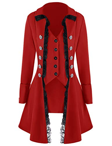 Womens lace Steampunk Thin Jacket Casual Jackets Retro Victorian Punk Women Medieval Jacket Coat (XXXL, Red)