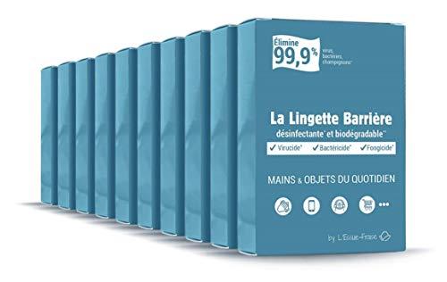 L\'Essuie-Fraise - Pack de 10 x 7 = 70 toallitas desinfectantes virucidas individuales, eficaces en manos, objetos (smartphones, teclados, etc.) y superficies - Estándar EN14476, fabricado en Francia