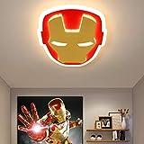 ZXM Plafoniera A LED Iron Man in Acrilico Lampada da Soffitto per Cameretta per Bambini Avengers con Telecomando Dimmerabile per Camera da Letto Soggiorno Sala da Pranzo Asilo Nido,45CM(42W)