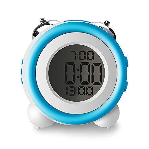 IKEAN Despertadores Digitales Infantil, Reloj de Alarma Doble con Alarma Opcional de Día de la Semana, Funciona con Batería, Snooze, Luz de Fondo, Doble Campana Led Despertador, Azul