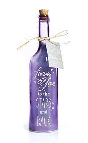 Boxer Starlight - Botella con diseño de Estrellas y Texto en inglés Love You, Color Morado Claro