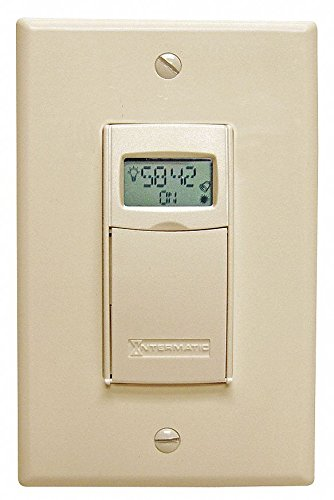 INTERMATIC 120/277VAC Electronic Wall Switch Timer, Max. On/Off Cycles:1, Light Almond