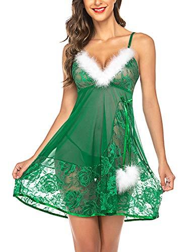 Avidlove Christmas Lingerie for Women Santa Babydoll Lingerie Set Green