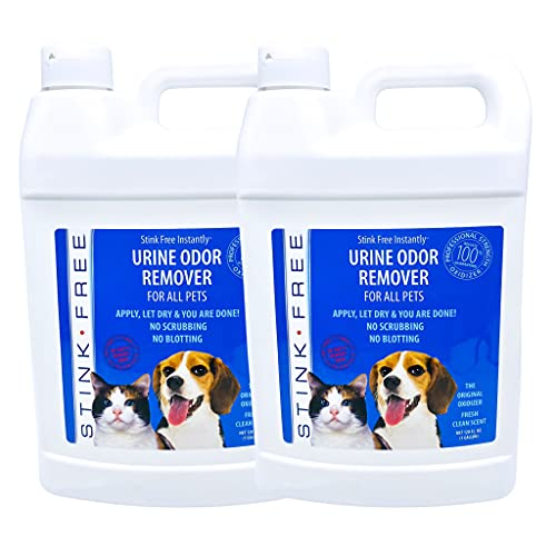 Stink Free Instantly Urine Odor Remover for Pets - Eliminator for Cat & Dog Pee, Best Oxidizer Based Urine Cleaner for Carpets, House, Rugs, Mattress, etc. 2-128 Oz (2 Gallons)