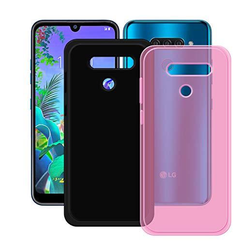 YZKJ Capa rosa + capa preta para LG K12 Max, luz de absorção de choque, mas durável, flexível, gel macio, rosa, capa de proteção de silicone TPU para LG K12 Max (6,2 polegadas)