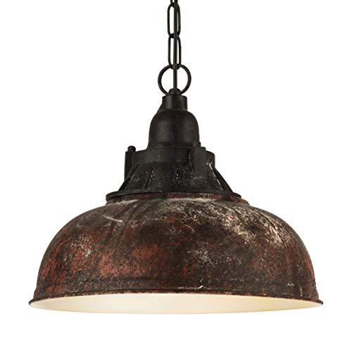 EGLO Pendellampe Grantham 1, 1 flammige Vintage Pendelleuchte im Industrial Design, Retro Hängelampe aus Stahl und Kunststoff, Farbe: braun-antik, schwarz, Fassung: E27