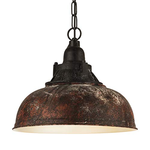 Lámpara colgante EGLO GRANTHAM 1, lámpara de suspensión vintage con 1 bombilla de estilo industrial, lámpara suspendida retro de acero y plástico, color: marrón antiguo, negro, casquillo: E27