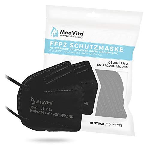MeaVita FFP2 Maske schwarz, EU CE Zertifizierte Mund- und Nasenschutz nach EN149:2001+A1:2009, Atemschutz hohe Filtration, Partikelfiltermaske, Gummizug 10er Pack