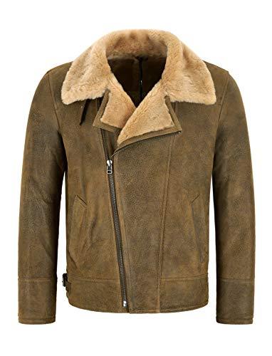 Smart Range Leather Giacca da Uomo in Pelle di Montone B3 RAF Giacca in Vera Pelliccia di Shearling con Zip Incrociata Antica NV-49 (M)