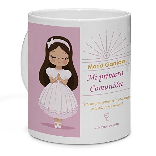 LolaPix Taza Comunión Personalizada con Nombre y Fecha. Regalo Personalizado para Comuniones. Diferentes diseños. Muñeca Morena
