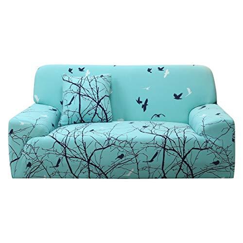 N/D - Funda de sofá extensible para sofá o sofá de 4 plazas con funda de cojín, color verde claro y negro