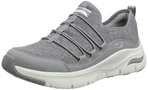 Skechers Arch Fit, Sneaker Donna, Grigio (Gray Jersey/Duraleather/White Trim Gry), 40 EU