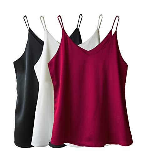 Wantschun Damen Unterhemd, Seide, Satin, V-Ausschnitt, Spaghettiträger, XXS-4XL Gr. Large, 3er-Pack: schwarz+weinrot+weiß