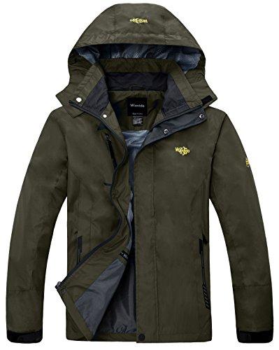 Wantdo Men's Hooded Raincoat Outdoor Insulated Windproof Rain Jacket Sportswear Windbreaker