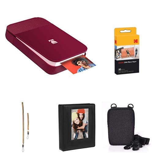 Cheapest Prices! KODAK Smile Instant Digital Printer (Red) with Extra Paper, Album, Case, Colorful N...