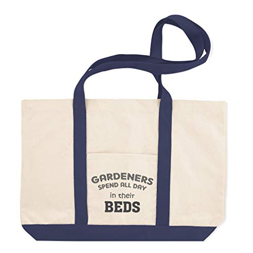 Canvas Shopping Tote Bag Gardeners Spend All Day in Their Beds A Home Garden & Porch Best Garden Beach Bags for Women Garden Gifts Navy Design Only