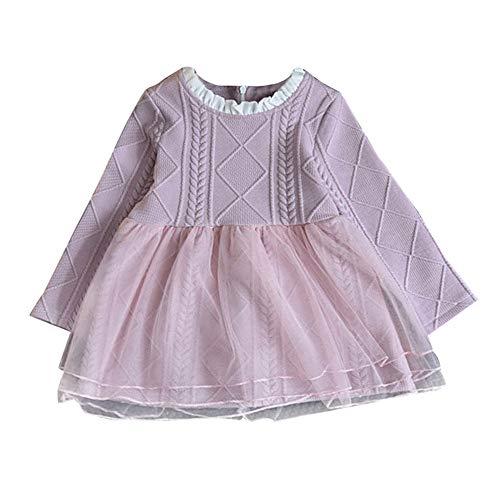 feiXIANG Ropa para niños niños bebé niña suéter Hecho Punto Invierno Pullover Crochet Tutu Vestido de la Camisa de Malla de Color sólido Vestido de Punto de Costura de los niños