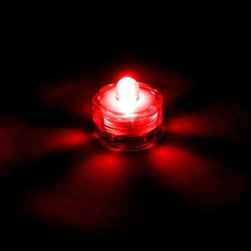 E-Goal - Velas sumergibles con Forma de Flor, Impermeables, LED, sin Llama, para Boda, Fiesta, Navidad, San Valentín, plástico, Rojo, 12 Unidades