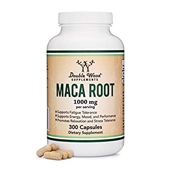 Maca Root Capsules  Black Red Yellow Maca Powder - 1,000mg per Serving  300 Count for Men and Women Grown in Peru  for Energy Mood Performance  Vegan Made in USA by Double Wood Supplements