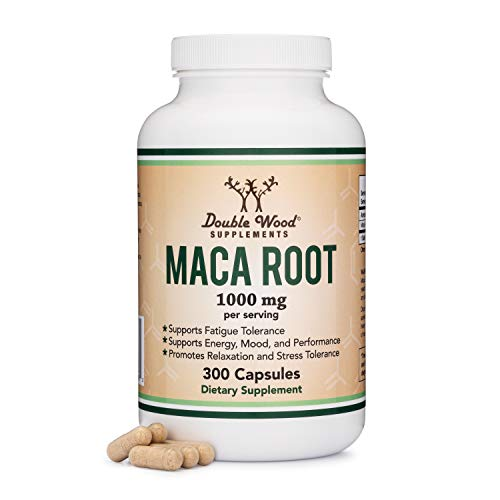 Maca Root Capsules (Black Maca Powder - 1,000mg per Serving) 300 Count for Men and Women. Grown in Peru (for Energy, Mood, Performance) Vegan, Made in USA by Double Wood Supplements