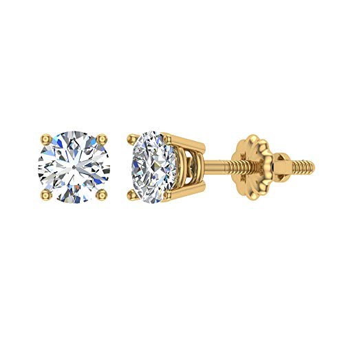 Diamond Stud Earrings for women-girls-teens-kids 14K Yellow Gold 1/10 ct t.w. Gift box Authenticity Cards (G, VS)
