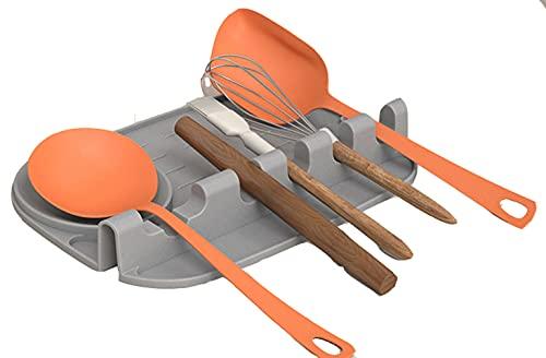 Poggiamestolo in Silicone per Utensili da Cucina, 2 in 1 Poggia Mestoli da Cucina per Cucchiaio in Silicone,poggia-Cucchiaio, spatola, mestolo, forchetta, Antiscivolo, Resistente al Calore