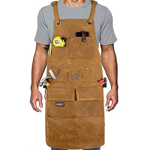 Arbeitsschürze herren , Robuste gewachstes Segeltuch Werkzeugschürze,9 Werkzeugtaschen, Schweißerschürze mit Kreuz-Rückengurten, verstellbar M bis XXL für Garten,...