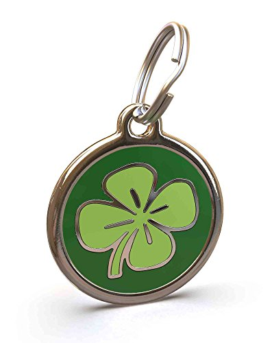 UNLEASHED.DOG Customizable Engraved Dog ID Tag - Stainless Steel with Clover Enamel Inlay - Large