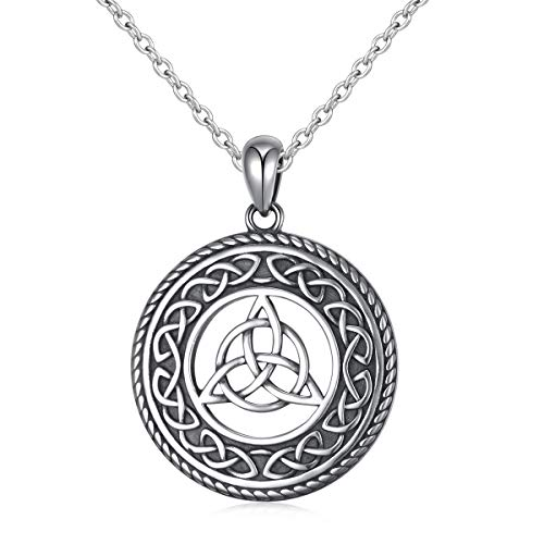 925 Sterling Silver Jewelry Oxidized Good Luck Irish Knot Celtic Medallion Round Pendant Necklace, 20 inch (celtic trinity knot necklace)