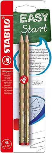 Schmaler Dreikant-Bleistift für Rechtshänder - STABILO EASYgraph S Metallic Edition in Gold - 2er Pack - Härtegrad HB
