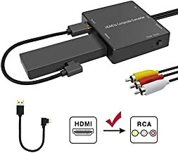 HDMI to RCA Converter Compatible for Fire Stick, HDMI to AV, HDMI to Composite Converter Adapter Compatible for Old TV, Amazon Fire Stick, Roku Stick, DVD Players, Xbox, PS3, Support 1080p, PAL/NTSC