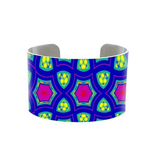 Kaleidoscope Mandala Pattern Handmade Aluminum Cuff Gifts For Hindu Yoga Mandala Pattern On Adjustable Bangles