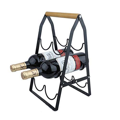 HWG Botellero Independiente | Gabinete para Vinos Plegable | Almacenamiento De Escritorio De Acero con Mango De Roble