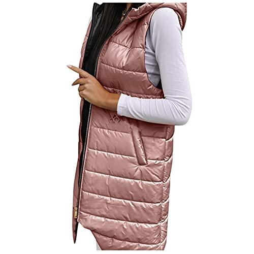 URIBAKY - Chaqueta de plumn para mujer con forro polar con capucha desmontable y ajustada, rosa, 5XL