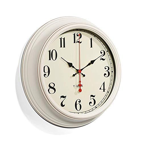 LIJINFEI Reloj de Pared Americano Sala de Estar Simple Moda Creativa Reloj de Pared Mudo @ 14 Pulgadas Marco Verde G Cara del Reloj