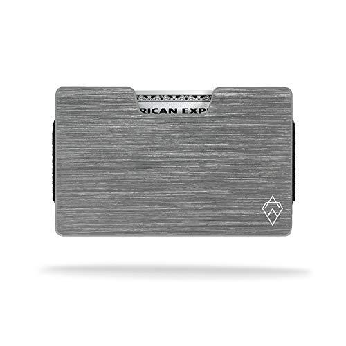 AKIELO Atom – Porta Carte di Credito da Uomo con Protezione RFID e Fermasoldi in Confezione Regalo – Design Minimalista Espandibile – Portafoglio Uomo Slim (Collezione Atom)