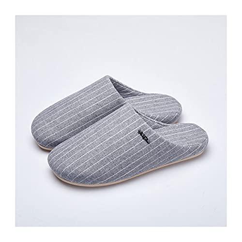 Zapatillas De Espuma Viscoelástica para Mujer,Pantuflas De Lino Ligeras,Antideslizante De Interior Y Exterior Pantuflas,Zapatillas De Casa De Lino para Parejas (Color : Gray, Size : EUR36-37)