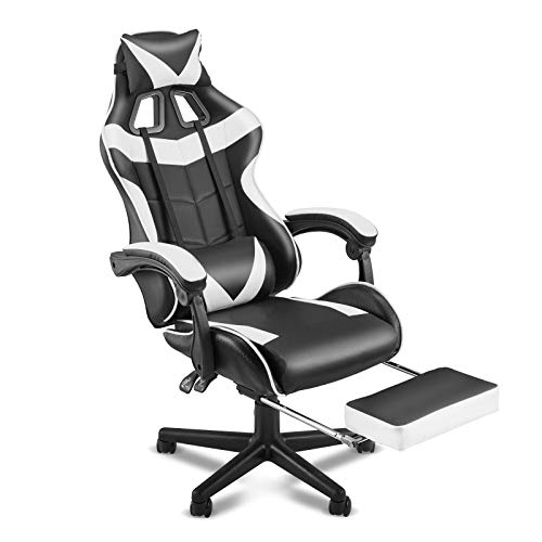 SOONTRANS Computer Chair,Gaming Chair,Ergonomic Racing Style PC Game Computer Chair with Headrest Lumbar Support Footrest Adjustable Recliner Chair(Polar White)