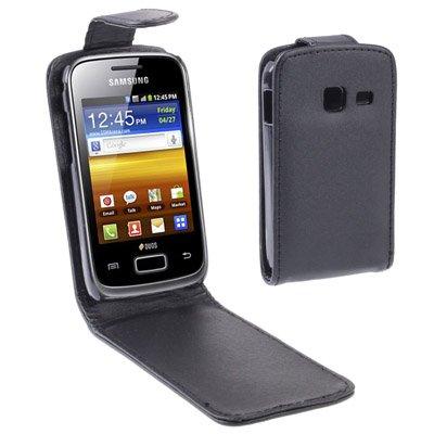 YUNCHAO Funda Protectora Funda de Cuero con Tapa Vertical for Samsung Galaxy Y Duos / S6102, Negro Caja del teléfono Celular