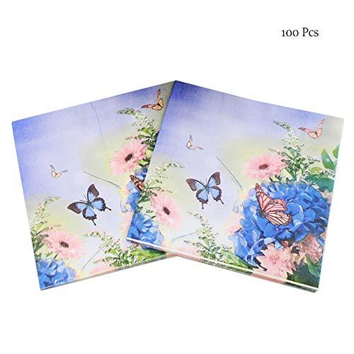 OYPA Servilletas de Papel Azul, servilletas Creativas navideñas de 2 Capas de Papel de Seda 33x33cm / 13x13 '' para la decoración navideña de Mesa 100 Piezas