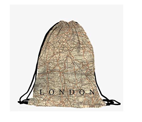 Hanessa jute tas Londenon-map landkaart natuurbeige - met grappige spreuk opdruk sporttas grappige spreuken rugzak tas gym bag hipster mode sporttas boodschappentas RU-274
