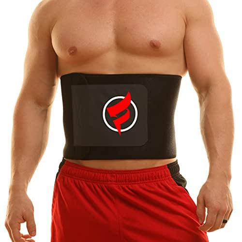 "Fitru Waist Trimmer Sauna Ab Belt for Women & Men - Waist Trainer Stomach Wrap (Black, 8"" X 42"")"