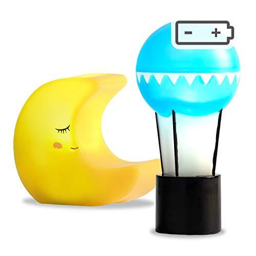 Lundby 60-6046-00 Mond und Ballon Lampe Set für Puppenhaus LED 18:1 für 11cm Puppen Schwedisches Design blau gelb